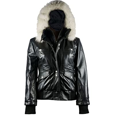 FactoryExtreme Arctic Freeze Womens Black Bomber Leather Jacket with Hoodie