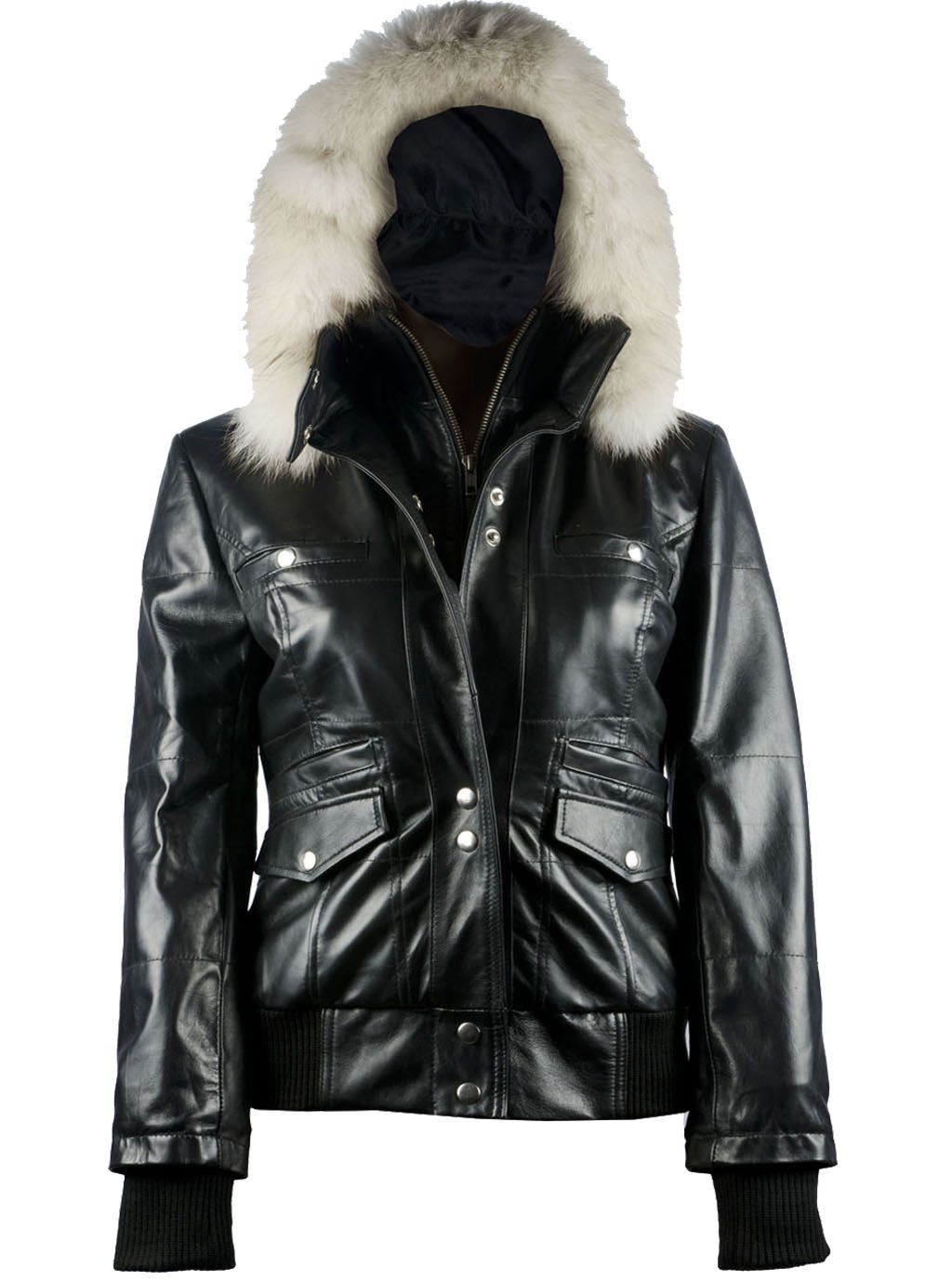 FactoryExtreme Arctic Freeze Womens Black Bomber Leather Jacket with Hoodie, X-Small, Black