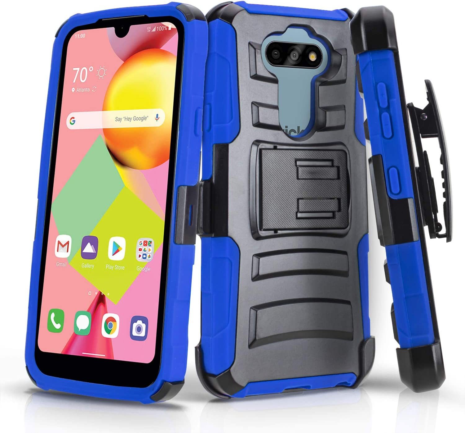 CasemartUSA Phone Case for [LG Risio 4 (Cricket Wireless)], [Refined Series][Blue] Shockproof Protective Cover with Built-in Kickstand & Swivel Belt Clip Holster for LG Risio 4 (Cricket Wireless)