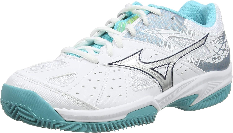 Mizuno Break Shot 2 CC, Chaussures de Tennis Femme, Blanc (WhiteSilverBlue Curacao 03), 37 EU