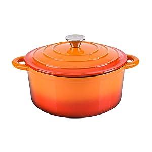 Hamilton Beach 5.5 Quart Enameled Cast Iron Covered Round Dutch Oven Pot, Orange