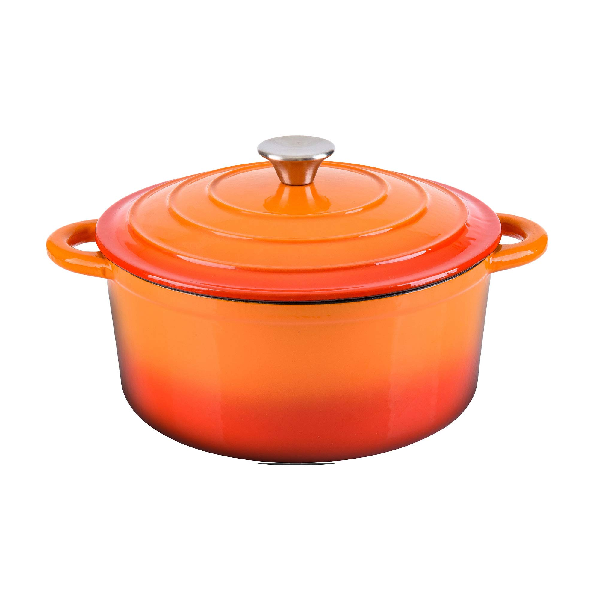 Hamilton Beach 5.5 Quart Enameled Cast Iron Covered Round Dutch Oven Pot, Orange