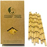 Eco Yellow Bamboo Straws Paper Drinking Straws to Replace Plastic Straws 100 Pack