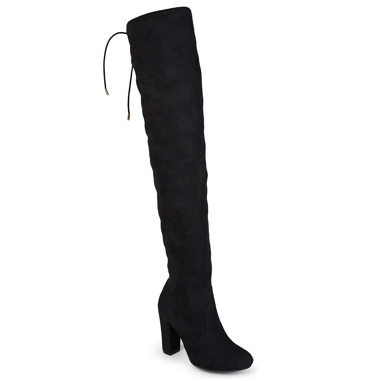 Journee Collection Womens Regular and Wide-Calf Faux Suede Over-The-Knee Boots B01I5IDPTQ 7 B(M) US|Black