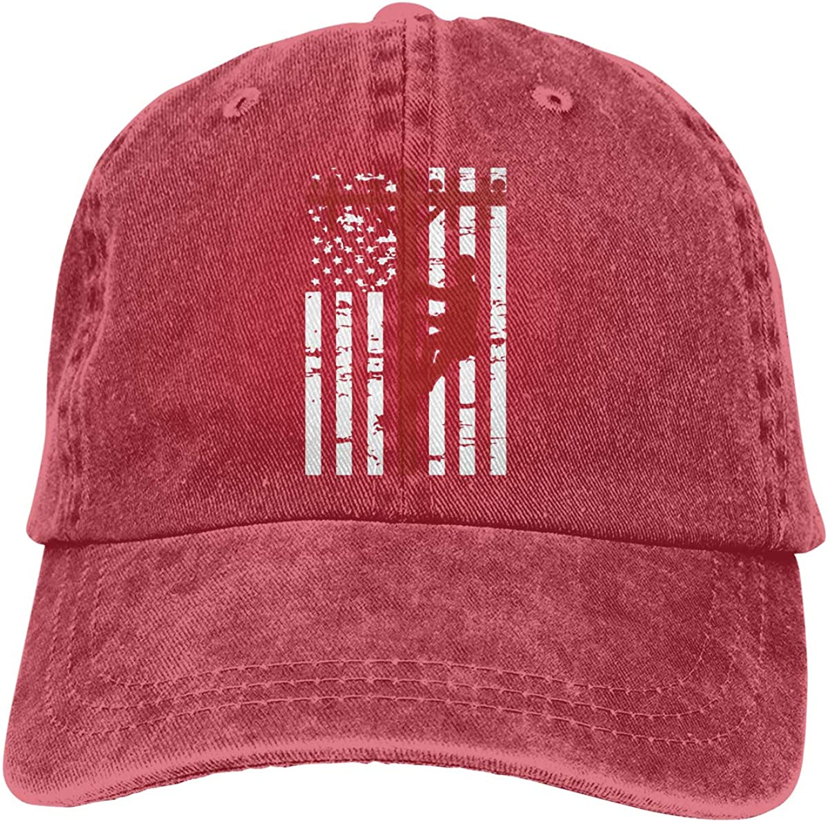 PMGM-C American Lineman Flag Adult Personalize Jeans Outdoor Sports Hat Adjustable Baseball Cap