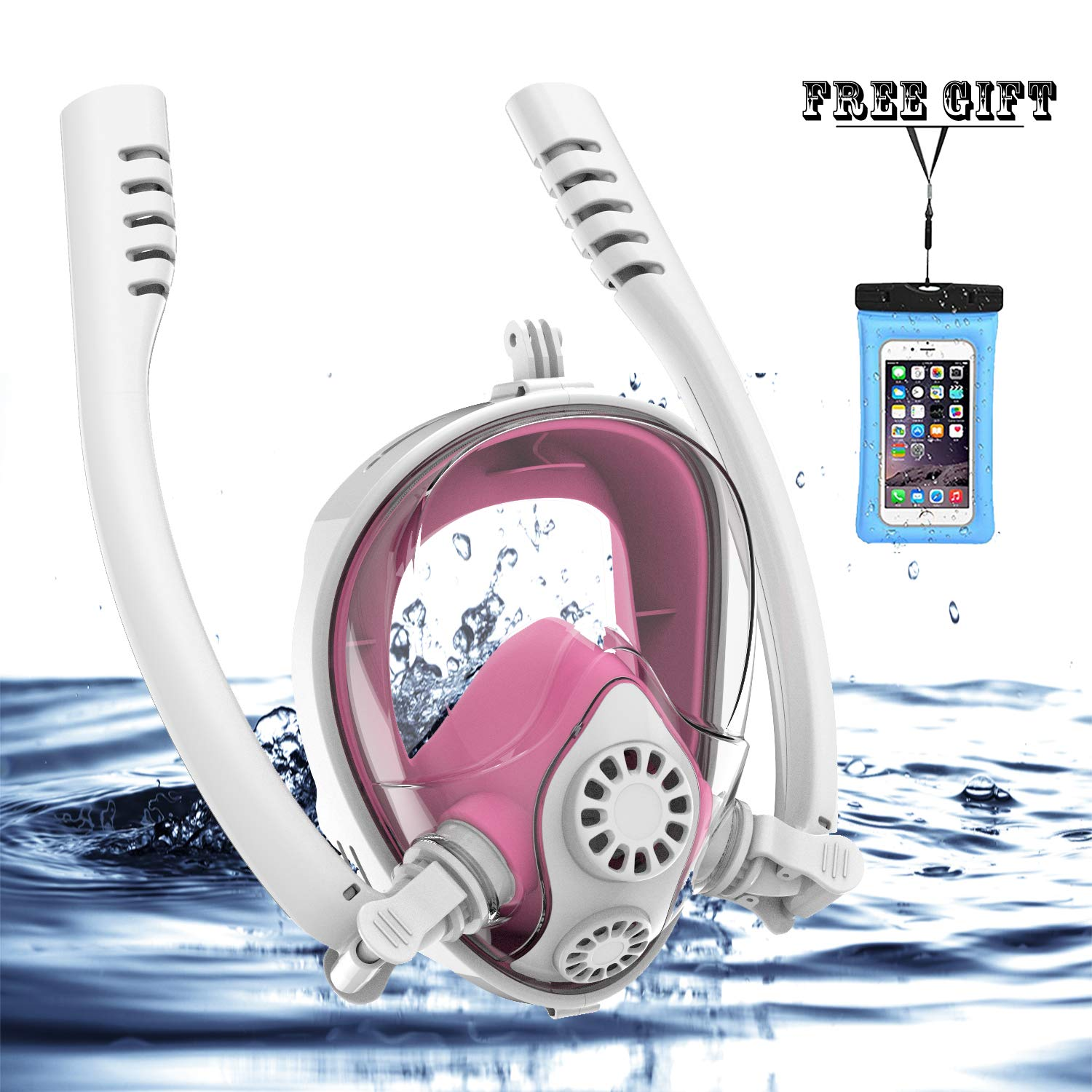 Full Face Snorkel Mask, HJKB K2 Backstroke Swiming Snorkeling Mask with Double Tubes and 180° Panoramic Viewing, Zero Fog and Anti Leak Guarantee with Camera Mount for Adult (Pink, Large) by Jahuite (Image #1)