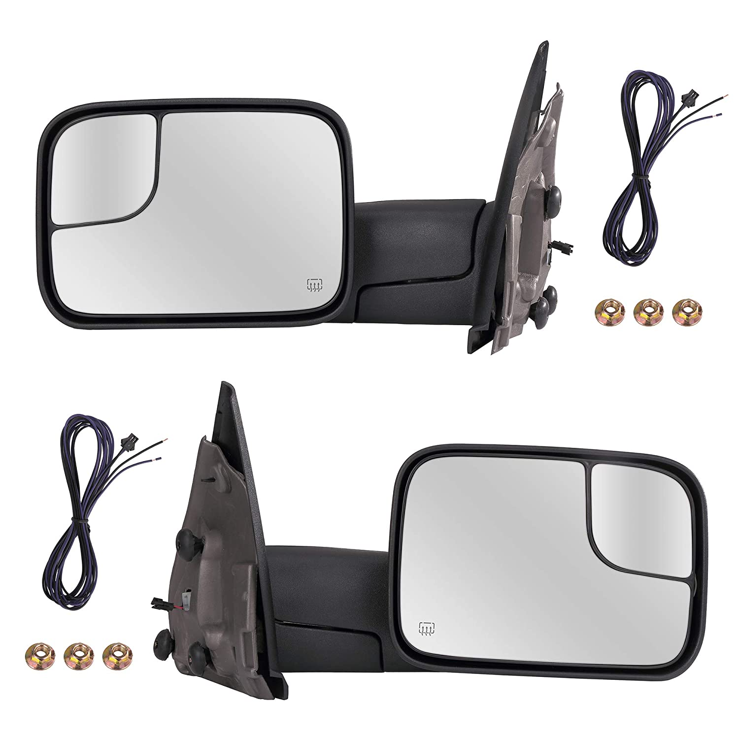 Parts Link # CH1320228 CH1321228 Towing Mirrors Passenger /& Driver Side Power Operated Heated With Amber Signal Black Finish Fits 02-09 Dodge Ram Black Flip-Up Mirror Pair Manual Folding