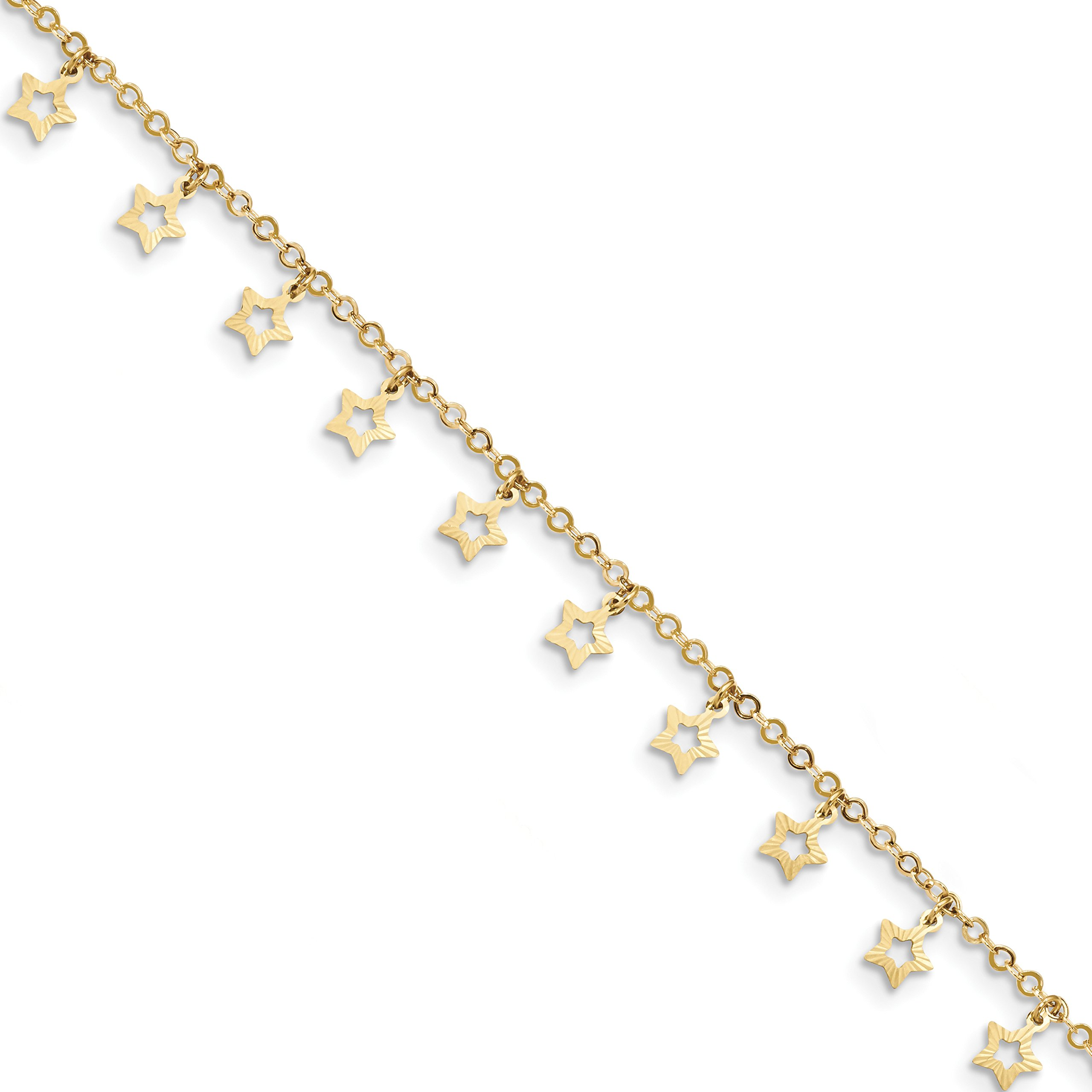 ICE CARATS 14k Yellow Gold Textured Star Anklet Ankle Beach Chain Bracelet Celestial Fine Jewelry Gift Set For Women Heart