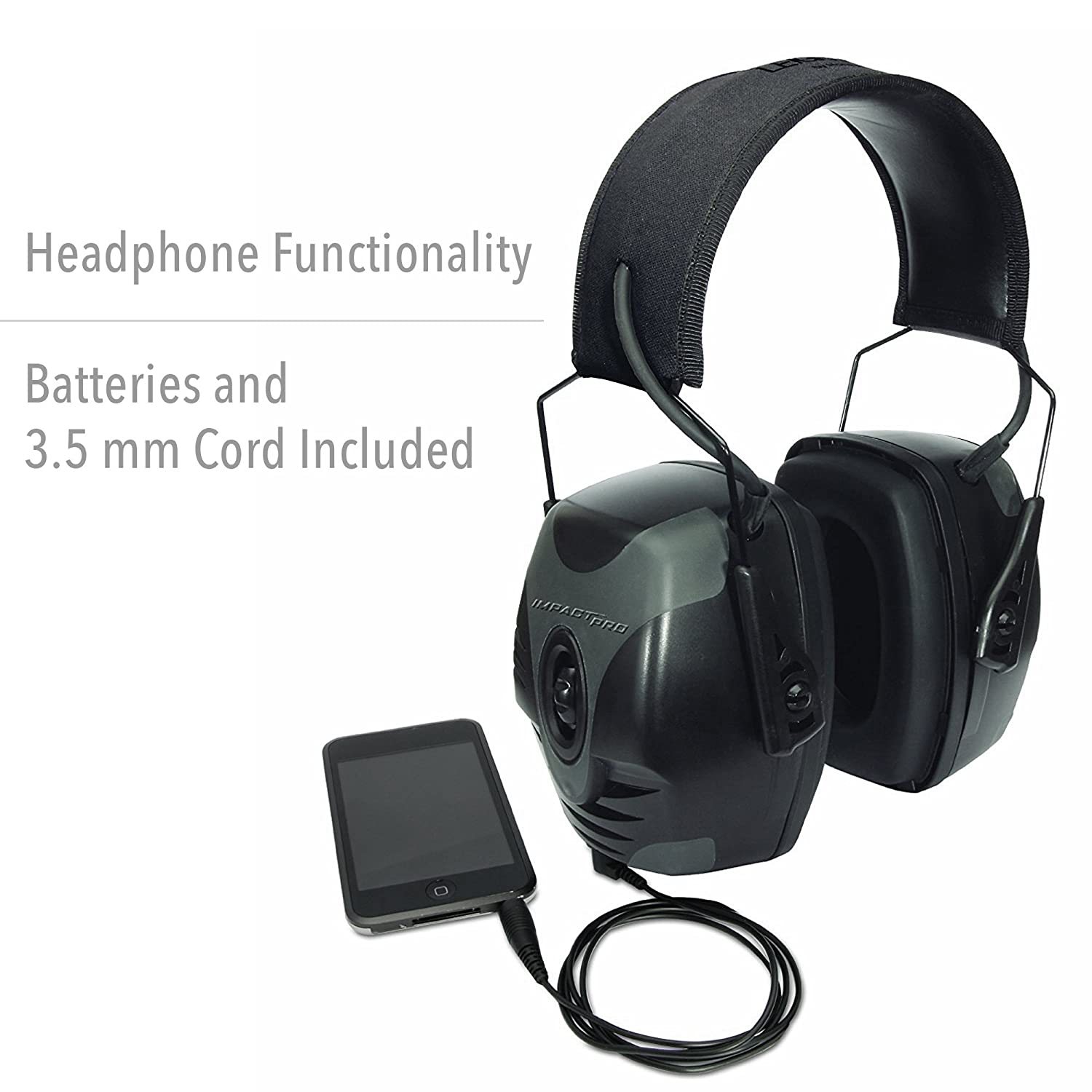 80c5d4345d6 Amazon.com: Howard Leight by Honeywell Impact Pro High Noise Reduction  Rating Sound Amplification Electronic Shooting Earmuff for Indoor and  Covered Ranges ...