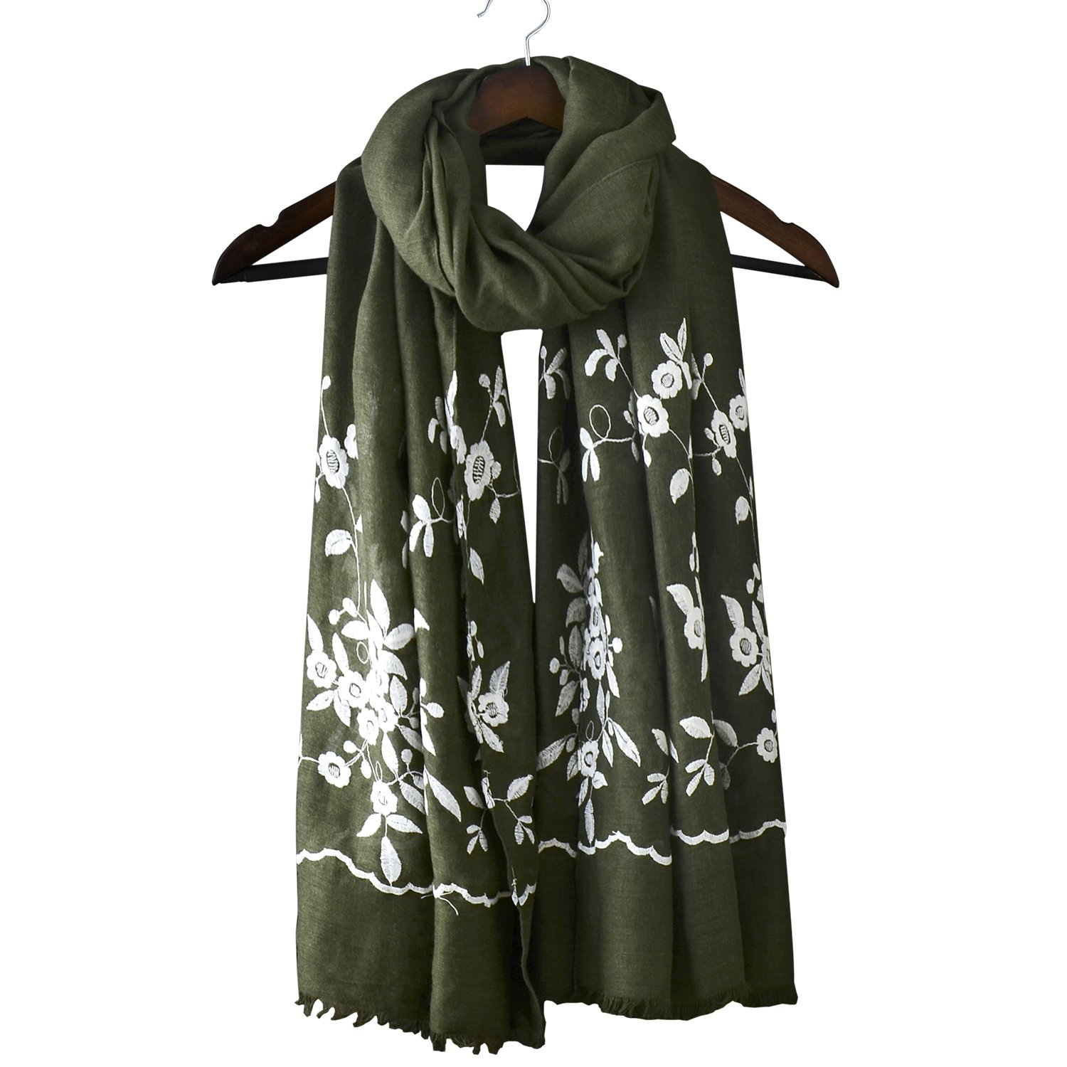 Womens Oversized Embroidery Shawl Fashion Large Long Winter Scarf Cotton Linen National Style Floral Scarf Wrap Cape (One Size, Olive Green)