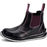 Zapatos de Seguridad Mujer, M-8025FM Botas de Seguridad de Tipo Cuero Impermeable, Puntera de Material Compuesto Sin…