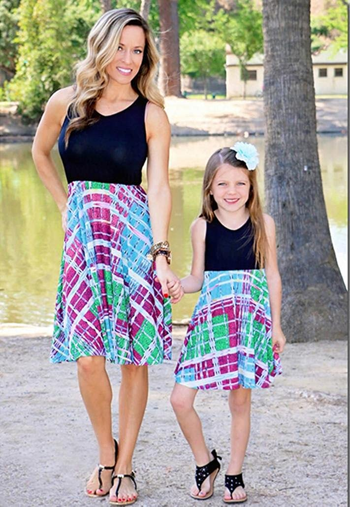 Voberry@ Dresses for Mothers /& Daughters Mommy /& Me Baby Girls Family Outfits Print Sleeveless V-Neck Matching Sundress