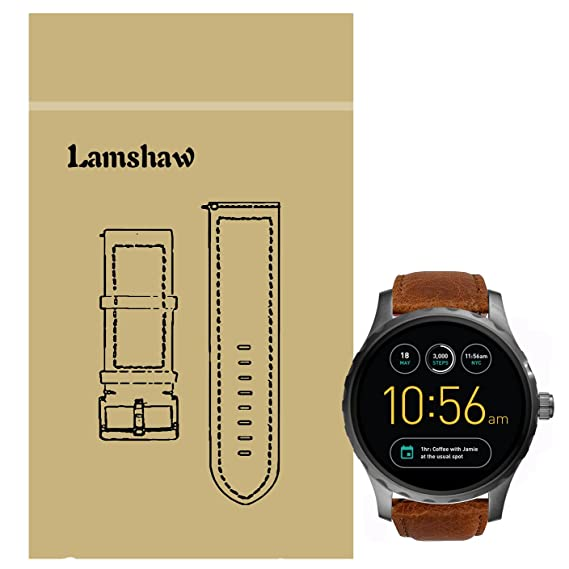 Lamshaw Leather Strap Replacement Band for Fossil Q Marshal Smartwatch Strap (Brown)