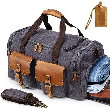 Kemy s Canvas Duffle Bag Men Travel Overnight Bags Oversized Weekender  Duffel Genuine Leather Weekend Shoulder Tote 8373ebae8edf3