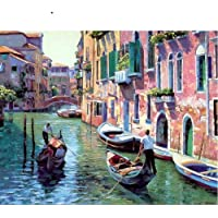 Paint By Numbers Birthday Gift _Diy Digital Paintingliving Room Birthday Gift Venice Town@Picture Style_No Inner Frame 40X50Cm