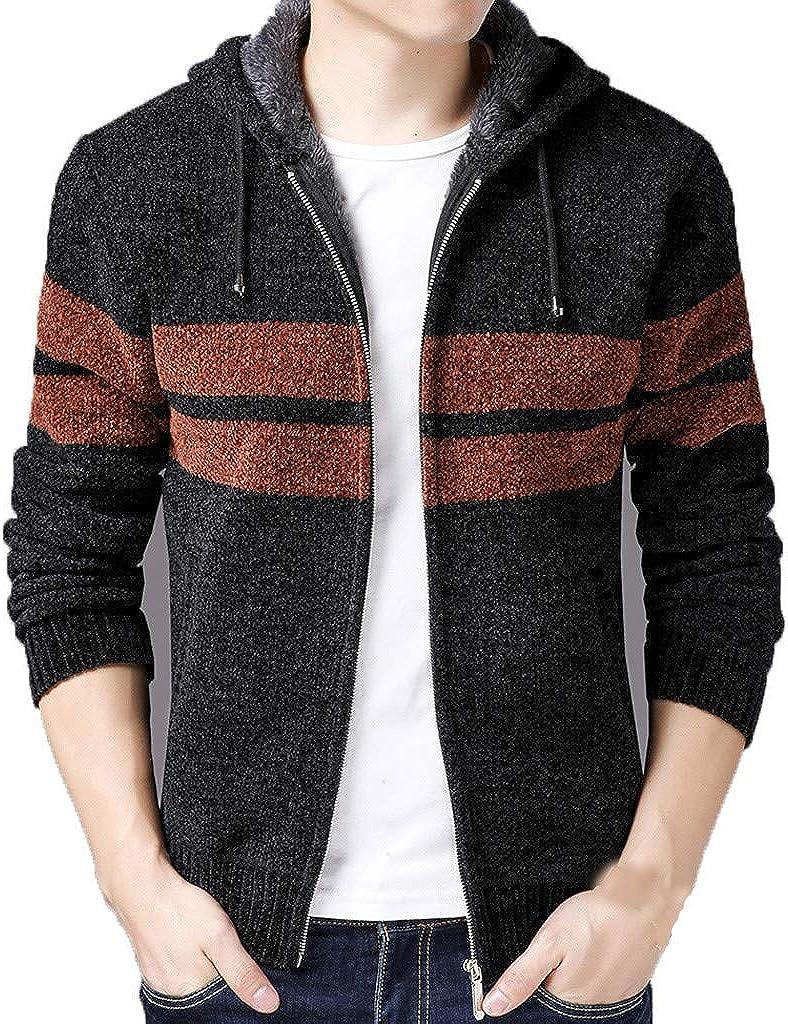 BiuBuy Mens Winter Thicken Plus Velvet Warm Zipper Hoodie Sweatshirt Jacket