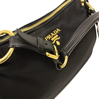 Prada BR4894 Nero Black Tessuto Soft Calf Leather and Nylon Shoulder Bag   Handbags  Amazon.com f95d494a828a9