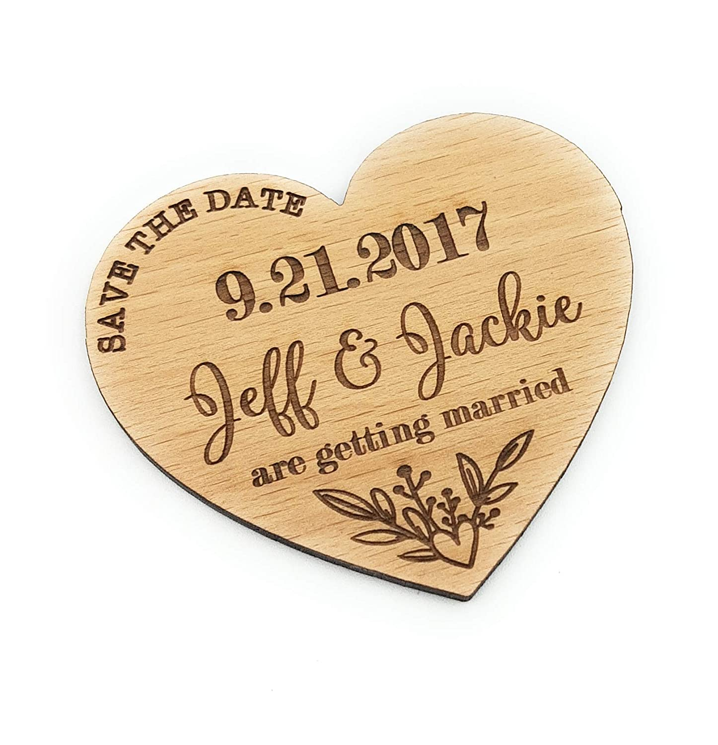 Save The Date Wooden Personalized Magnetic Wedding Hearts Laser Engraved Custom