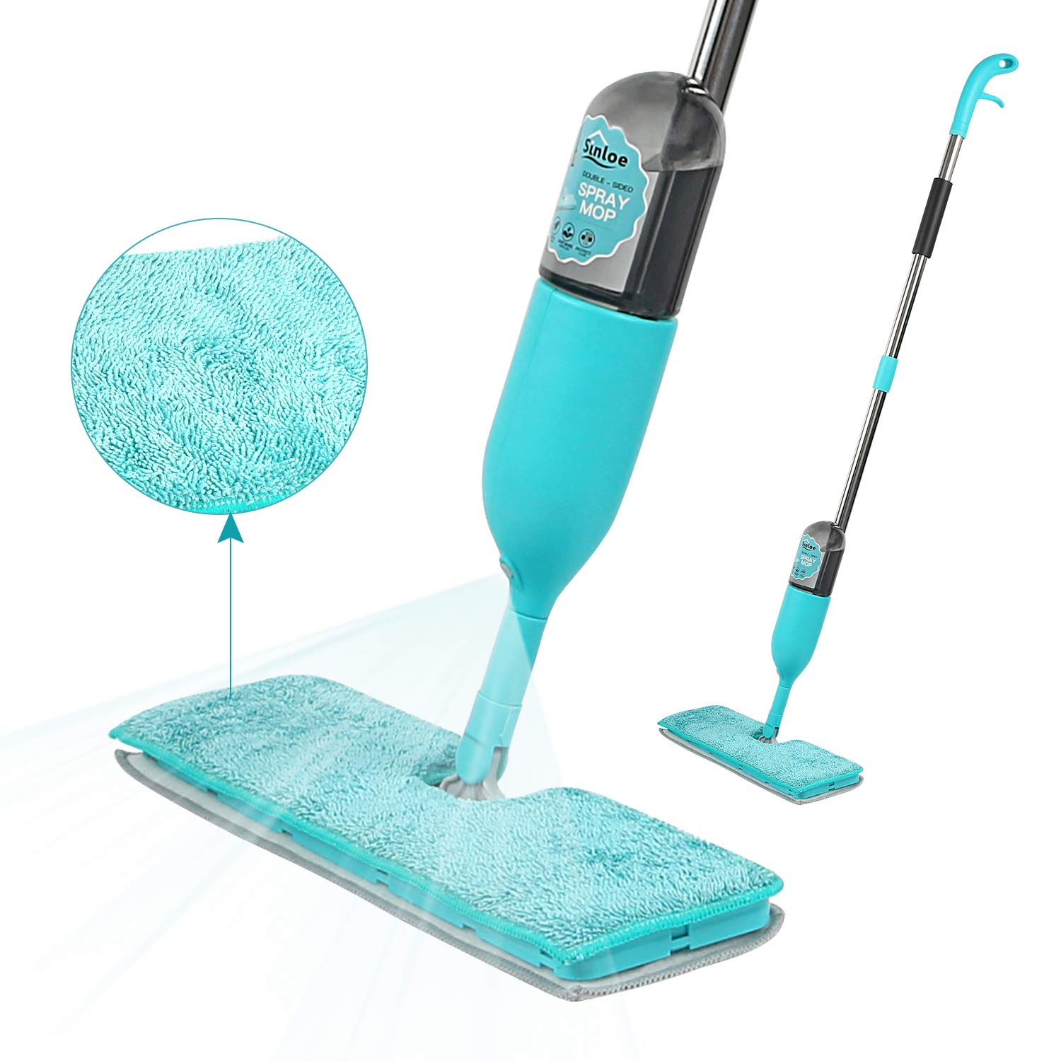 Double-Sided 360 Degree Spray Mop - SINLOE Dry/Wet Floor Cleaning Mop with Microfiber Reusable Pads Refillable Spray Bottle for Home Kitchen Hardwood/Laminate/Tile/Ceramic/Vinyl Flooring