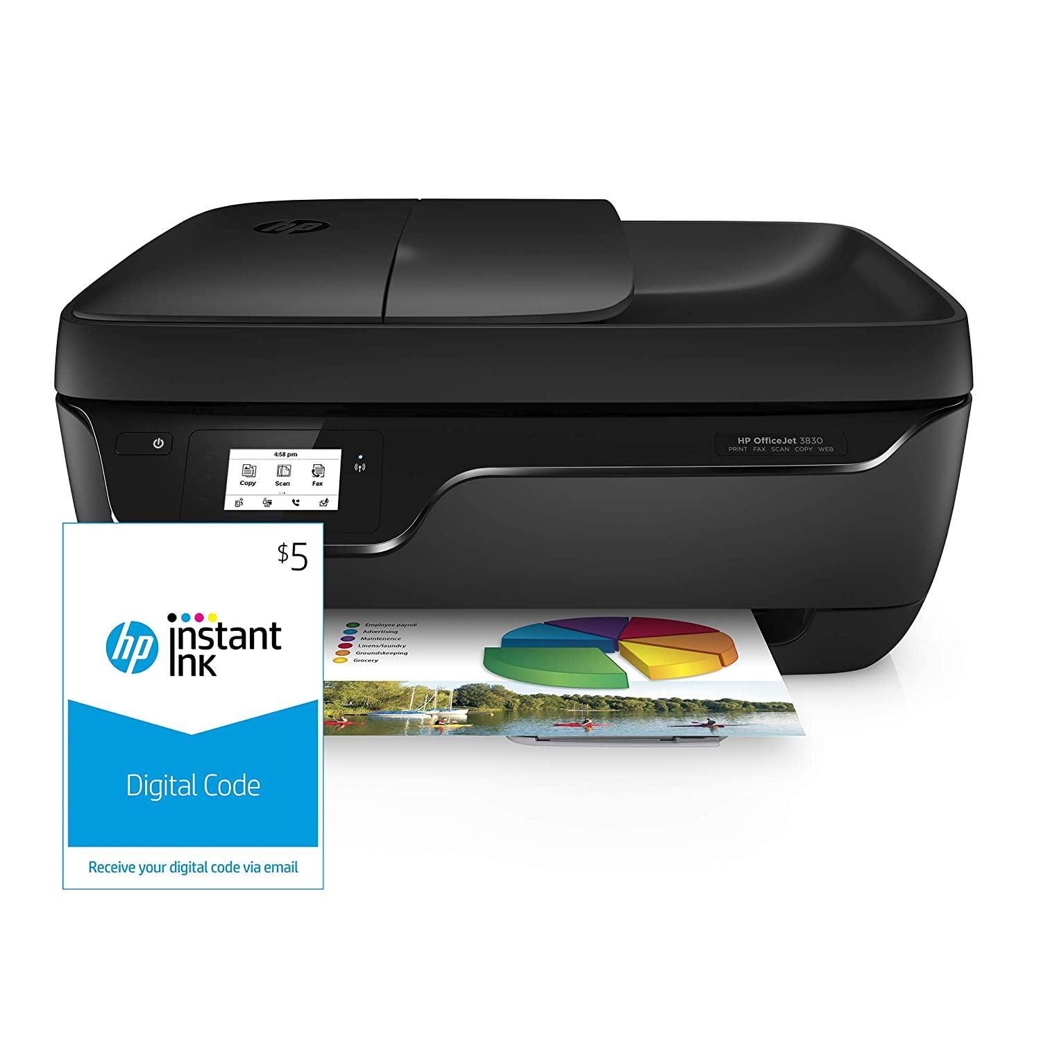 HP OfficeJet 3830 All-in-One Wireless Printer, HP Instant Ink & Amazon Dash Replenishment ready (K7V40A) and Instant Ink $5 Prepaid Code