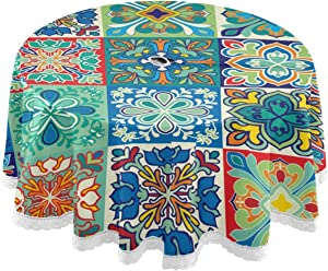Qilmy Mexican Talavera Outdoor Tablecloth 60 Inch Waterproof Round Tablecloth with Umbrella Hole and Zipper for Backyard Party BBQ Decor