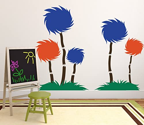Amazon Com Dr Seuss Wall Decor Tufted Trees Classroom Decor The Lorax Playroom Child Bedroom Nursery Party Decoration Vinyl Wall Decal Handmade