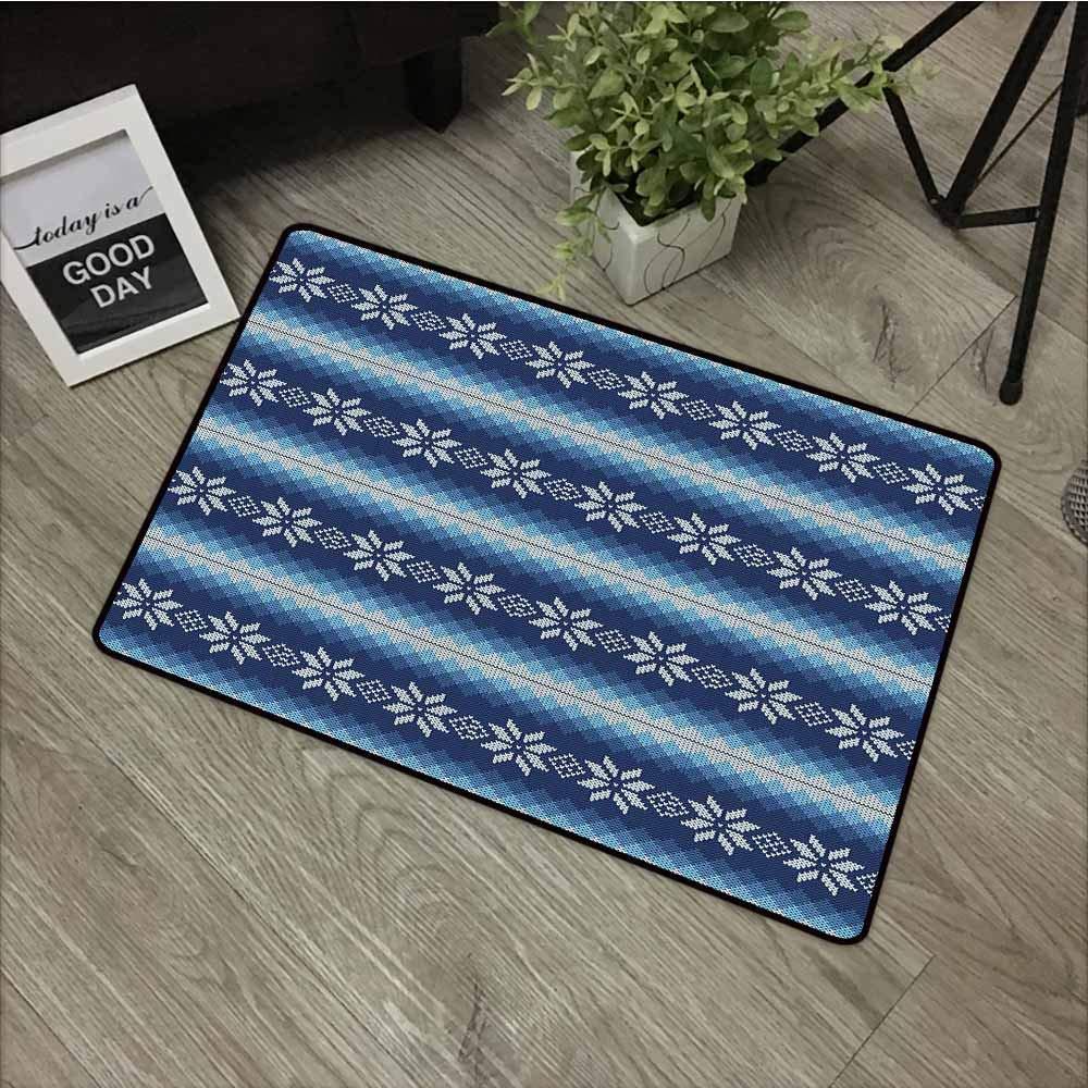 LOVEEO Pet Doormat,Winter Traditional Scandinavian Needlework Inspired Pattern Jacquard Flakes Knitting Theme,with No-Slip Backing,35''x47''