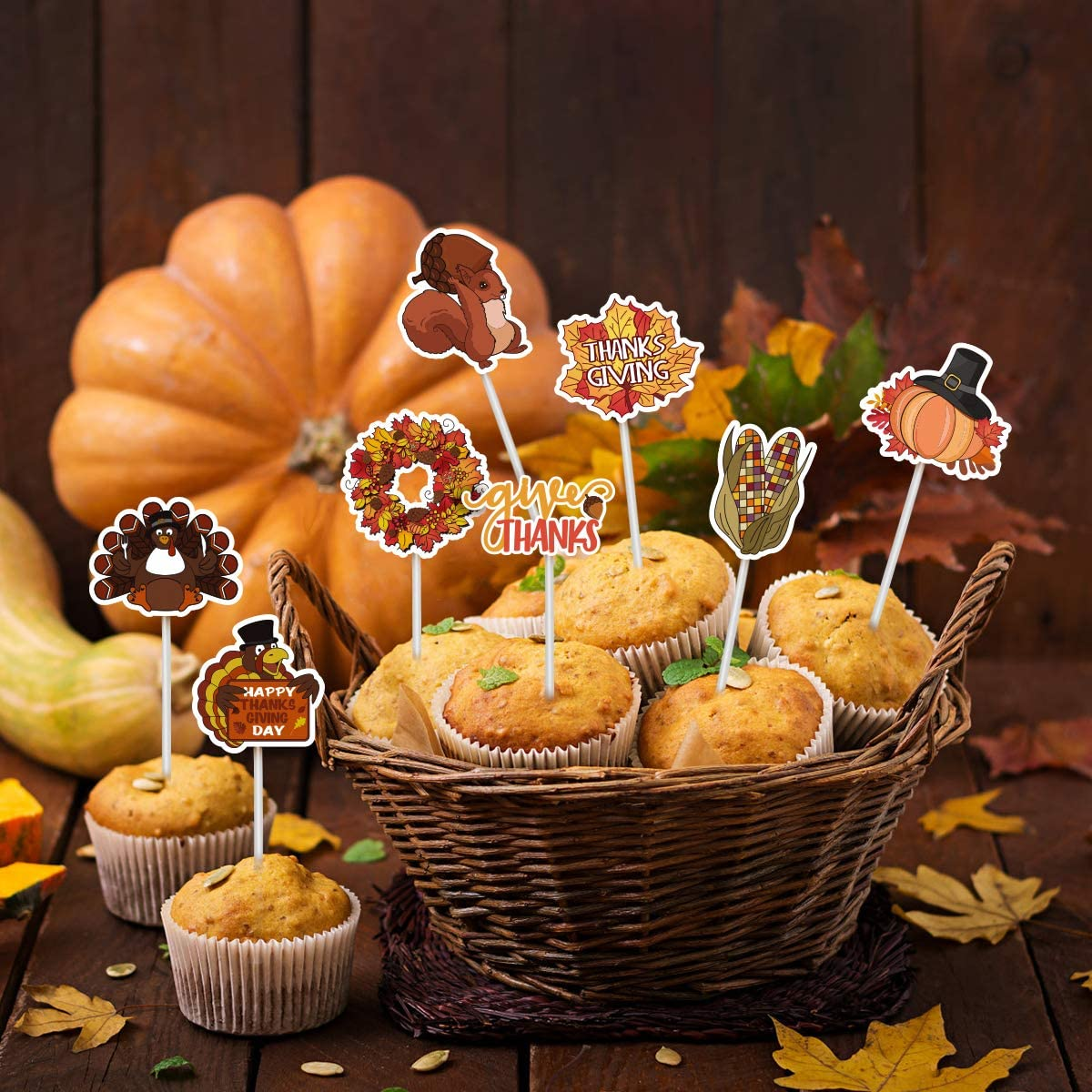 Thanksgiving Cupcake Decoration Turkey Food Picks Pumpkin Pie Decoration Toppers Party Food Decoration 72PCS