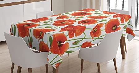 poppy decor tablecloth by ambesonne poppy flowers blooms buds water rh amazon co uk Classic Dining Room Tablecloth Dining Room Birthday