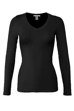 c36cf8121cf1 Bozzolo Women's Basic V-Neck Warm Soft Stretchy Long Sleeves T Shirt Black S