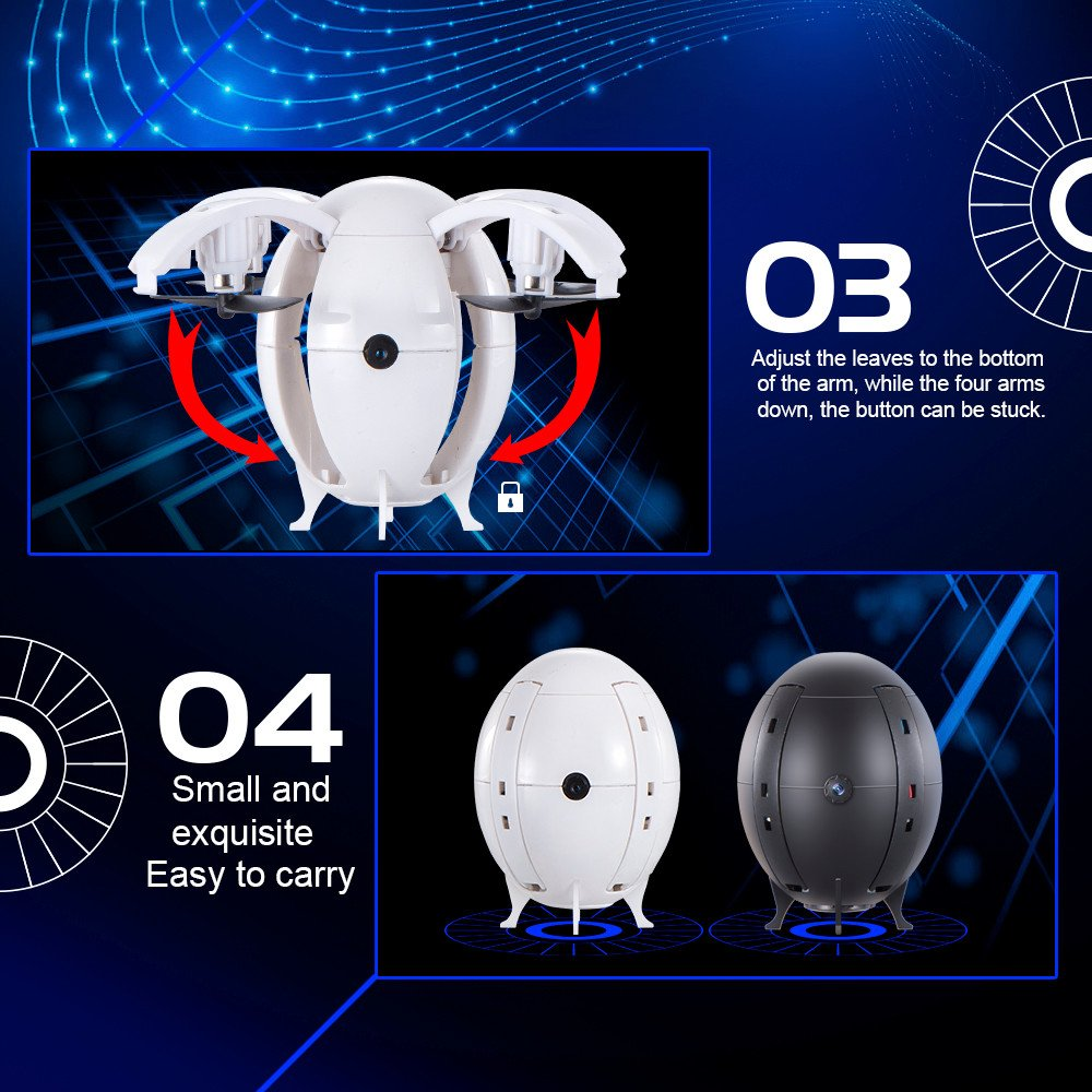 Mini RC Ball Drone Quadcopter Toys - 2.4G WIFI 0.3MP Camera FPV Pocket Drone with Headless Mode,One Key Return/Taking Off,Gbell Christmas Birthday UAV Toys Gifts for Adults Boys Kids Girls 14+ (White) by Gbell (Image #7)