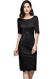 MisShow Damen Spitzenkleid Elegant Abendkleid Etuikleid Cocktailkleid apart  Kleid 0cffd01f5b