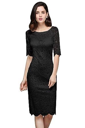 d6ccc83794e713 MisShow Damen Spitzenkleid Elegant Abendkleid Etuikleid Cocktailkleid apart  Kleid Schwarz Gr.32