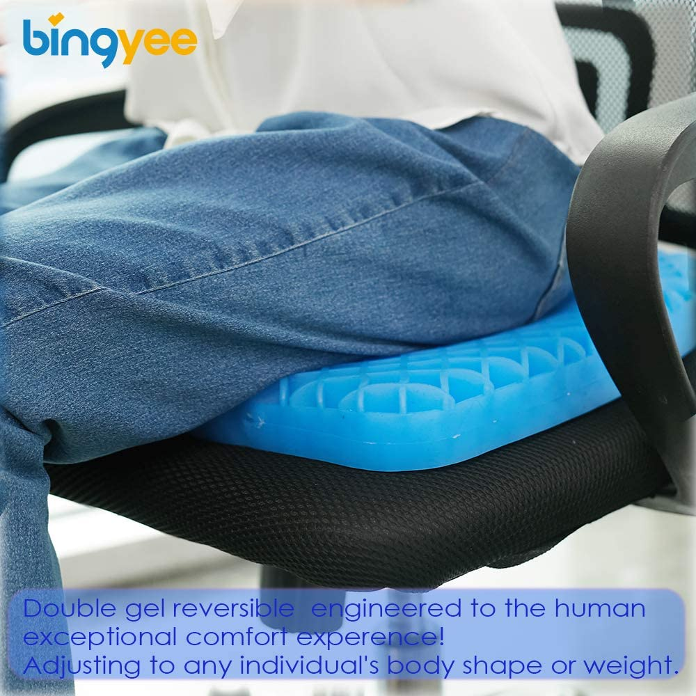 Bingyee Gel Seat Cushion 1.8 Inch Thick Double Gel Orthopedic Seat Cushion Pad for Pressure Relief Breathable Gel Sits Perfect for Office Chair, Car, Home, Wheelchair Sweat Resistant Chair Pads: Health & Personal Care