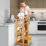 IPOW Learning Stool Toddler Tower, Adjustable Height Kids Step Stool - Bamboo Kitchen Bathroom Counter Helper Montessori Stoo
