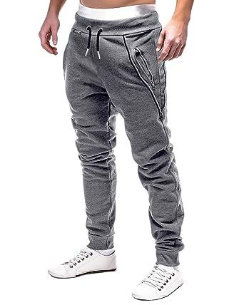 725bdce2ffb17 MODCHOK Homme Pantalon Jogging Bas de Survêtement Sweat Pants Sarouel Sport  Slim Gris foncé S