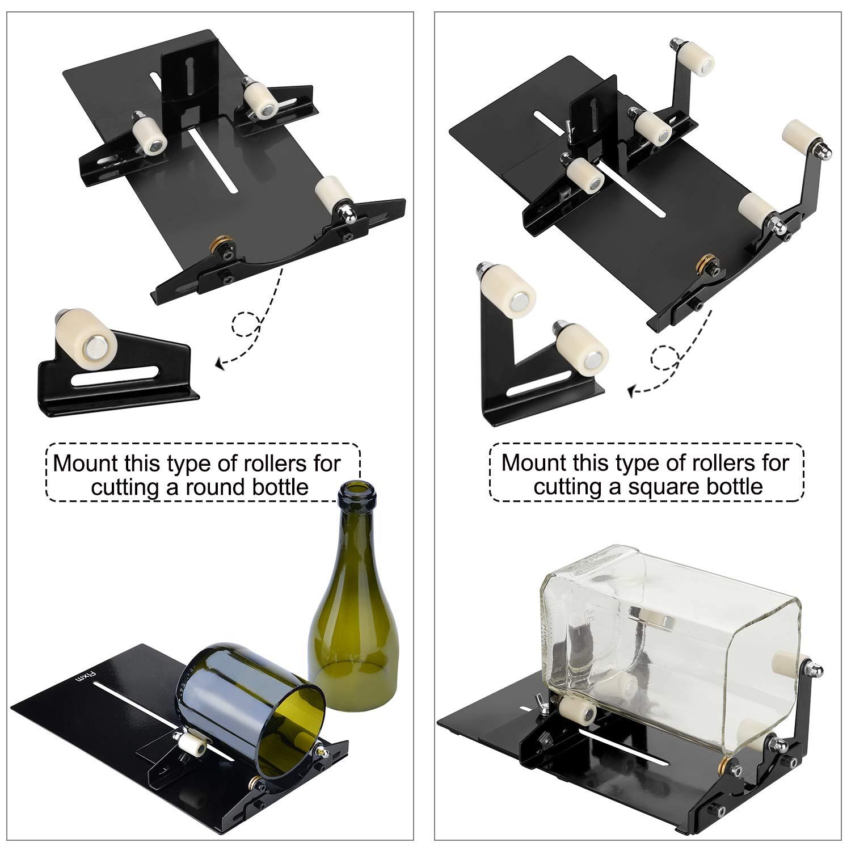 Cortador de botellas, Herramienta para cortar botellas de cristal cuadradas o redondas con accesorios, se ajusta a botellas redondas y cuadradas (Negro): ...