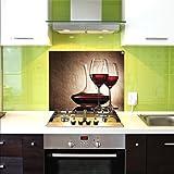 Crédence en Verre, Crédence De Cuisine, 75x60 cm, Verres à vin, UltraClear ® Glass
