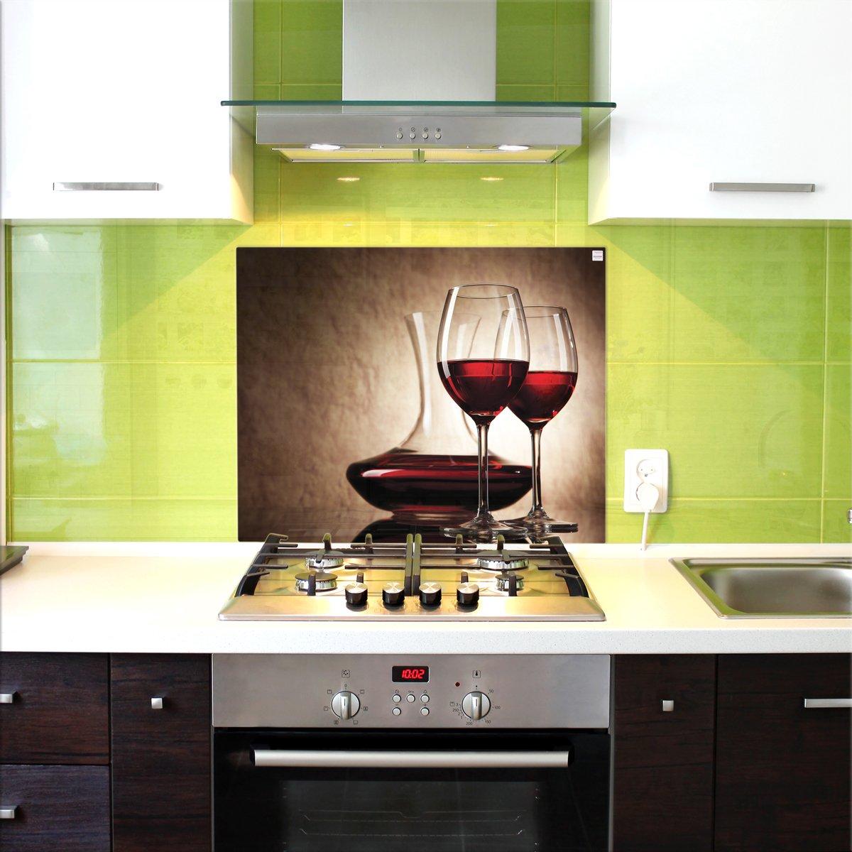 Küchenrückwand, Glas Spritzschutz, 75 x 60 cm, Weingläser ...