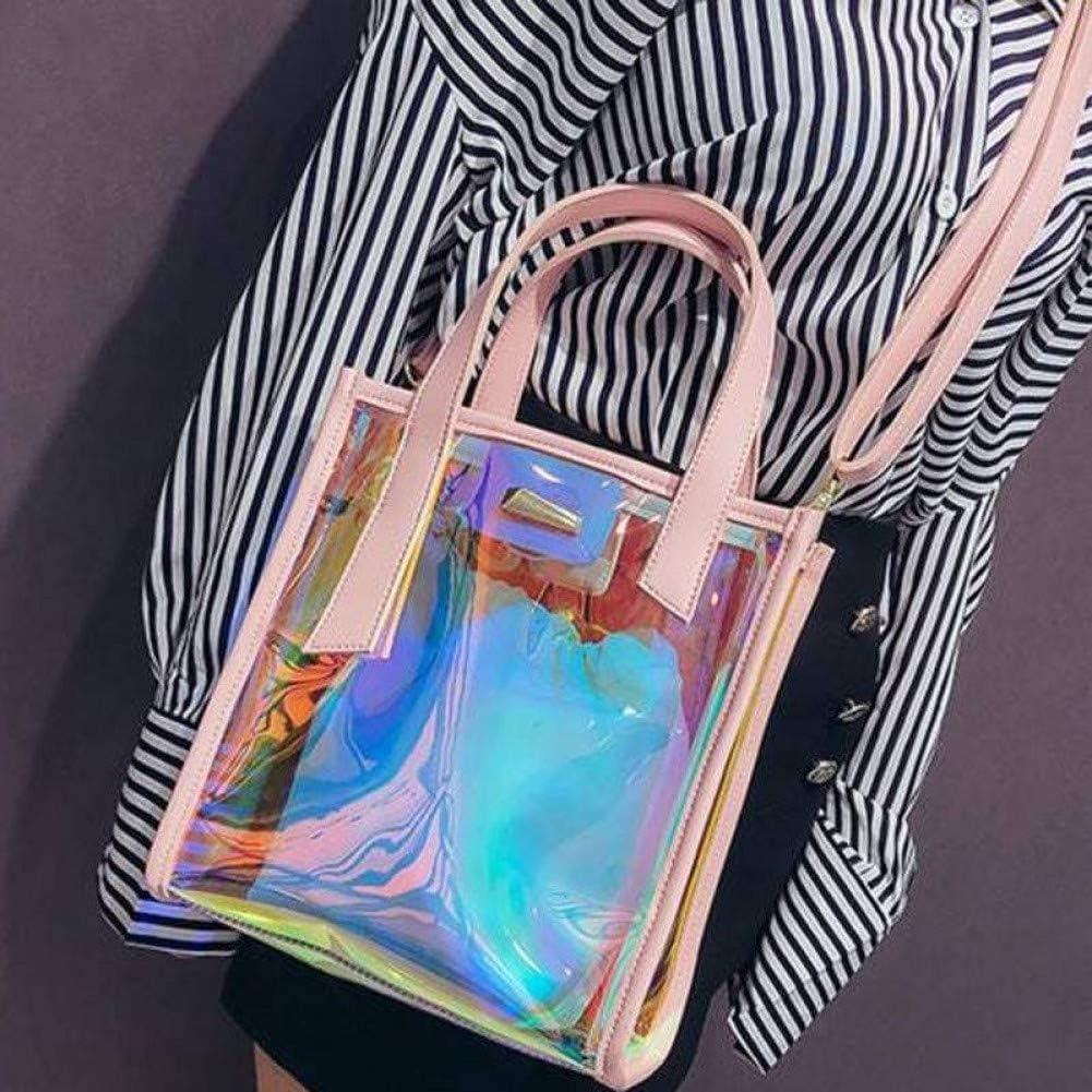 DWLXSH Damen Transparent Retro-Umhängetasche-glänzende Umhängetasche mit Ketten Handtasche Erhältlich in Einer Vielzahl von Farben und Stilen (Color : Black) Silver