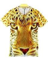 1stモール 半袖 リアル プリント 男女兼用 おもしろ 動物 10種 アニマル 3D Tシャツ (ヒョウ/Mサイズ) ST-ANMLT-10-M