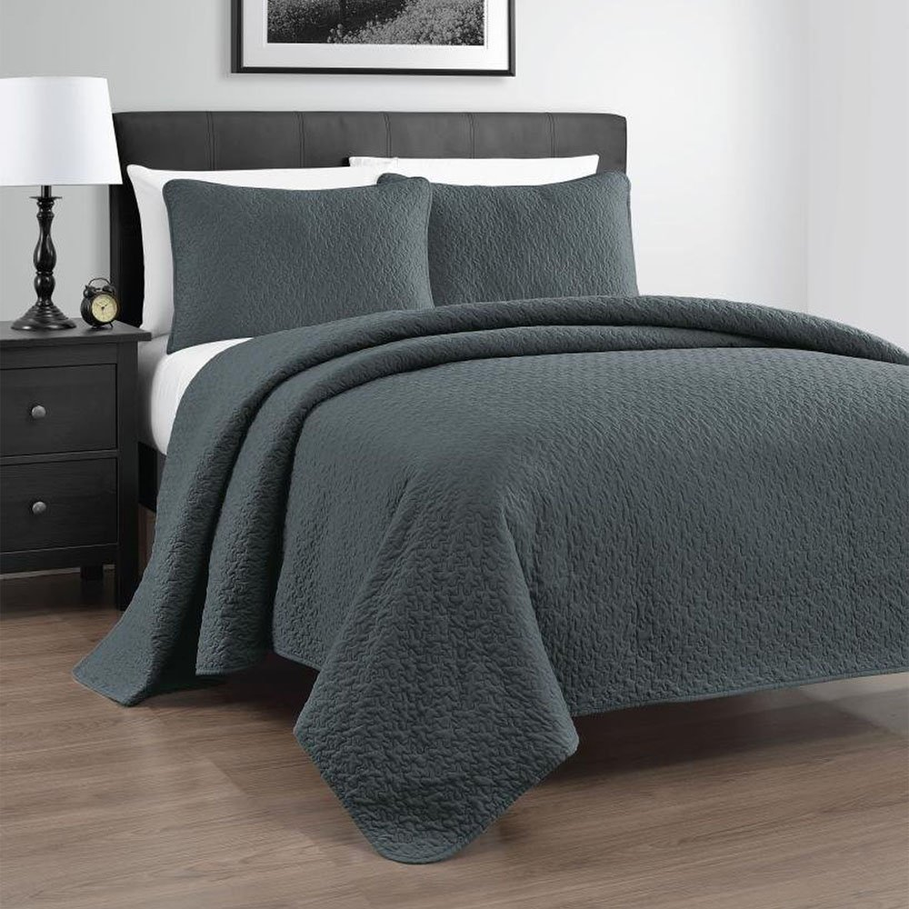 Amazon.com: Zaria 3 Piece Quilt/Coverlet Set, King/Cal King, Grey: Home U0026  Kitchen