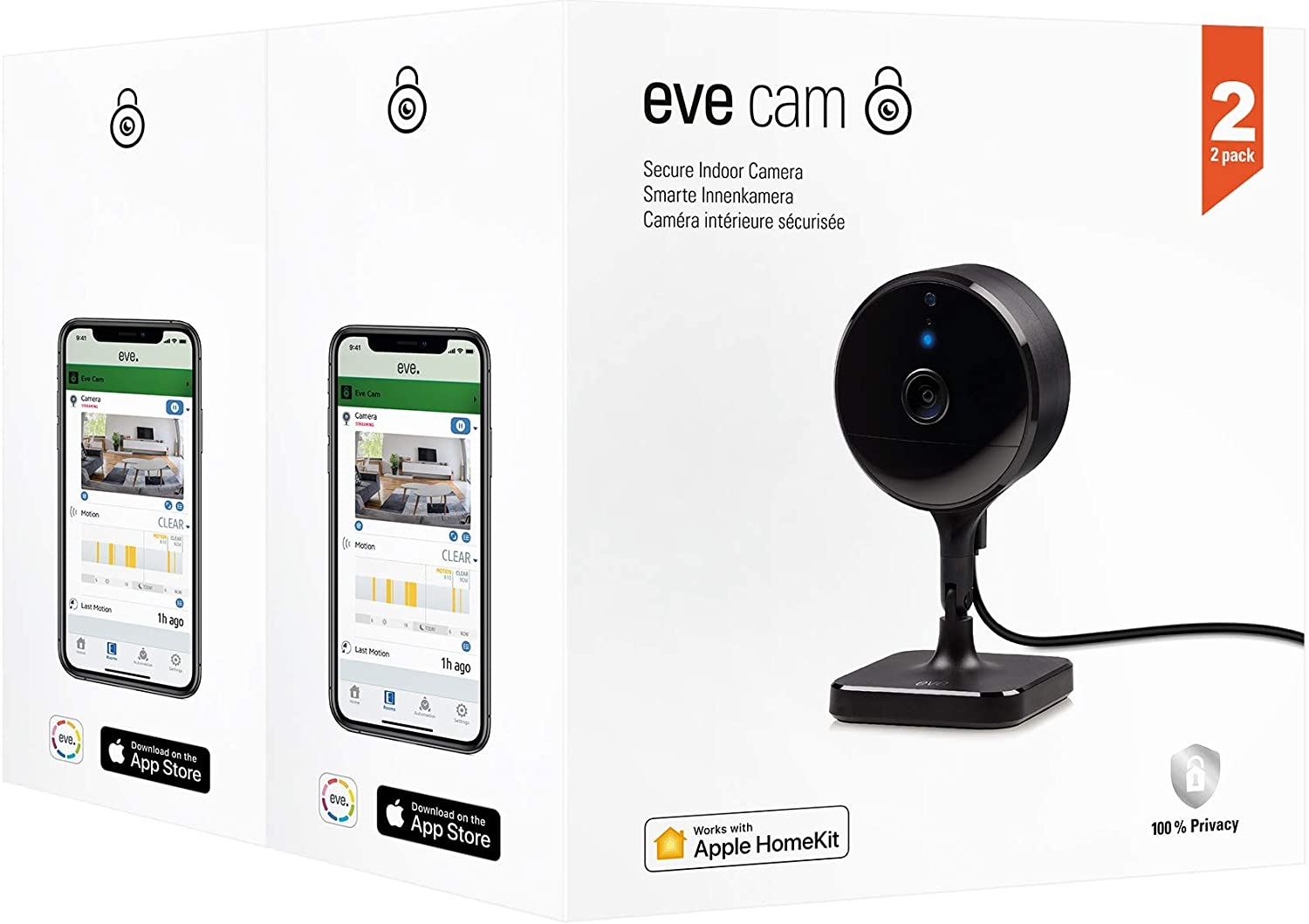 Eve Cam 2 Pack - Secure Indoor Camera, 100% Privacy, Apple HomeKit Secure Video, iPhone/iPad/Apple Watch Notifications, Motion Sensor, Microphone and Speaker, People/Pet Recognition