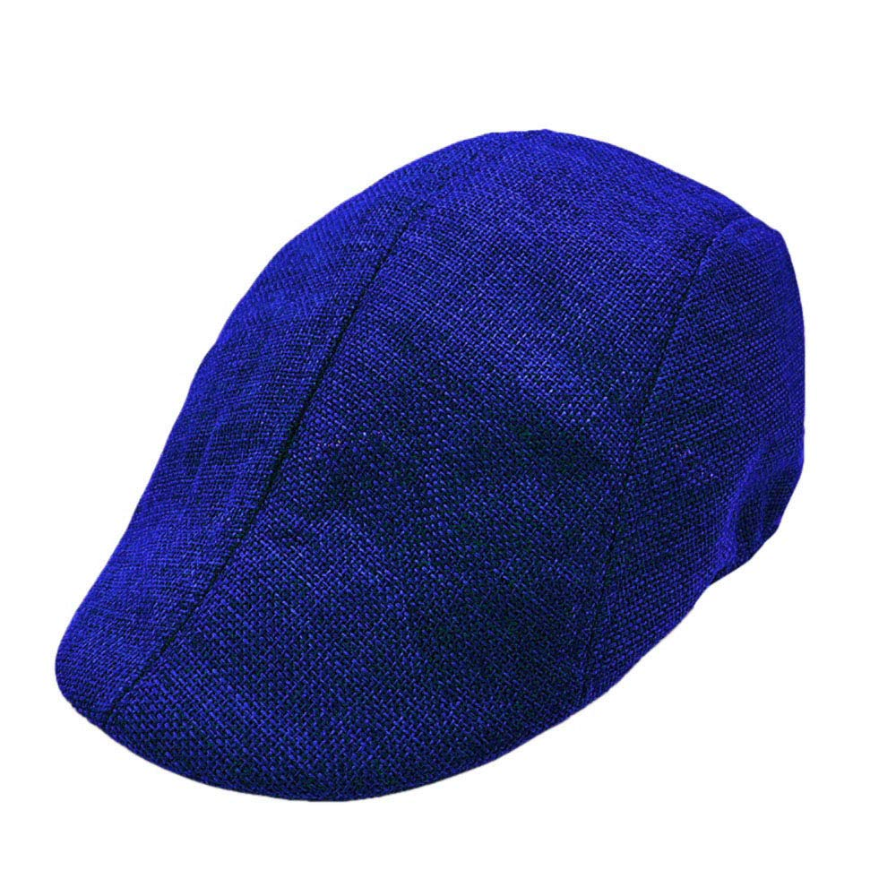 Men Summer Breathable Beret Flat Cap Visor Hat Sun Cap Casual Mesh Solid Low Profile Hat Vintage Trucker Cap (Blue)