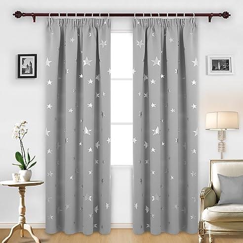 deconovo vorhang blickdicht kräuselband gardinen sterne gardinen ... - Gardinen Wohnzimmer Grau