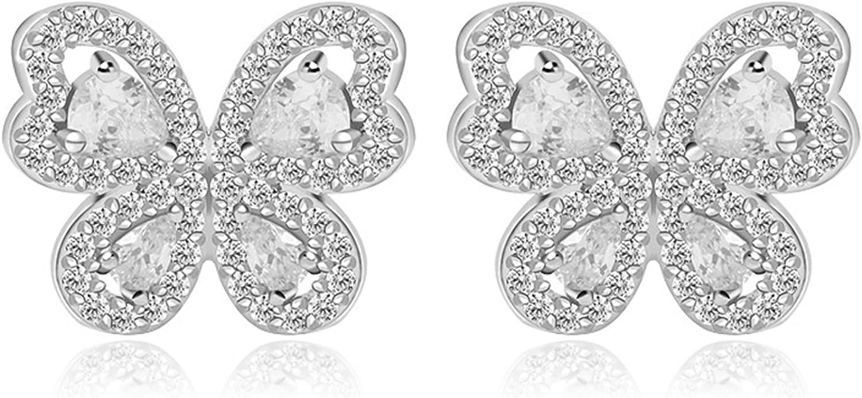 Beydodo Pendientes Chapado en Oro Pendientes Mariposa Plata Pendientes de Mujer Pendientes Cristal Murano Pendientes Blanco