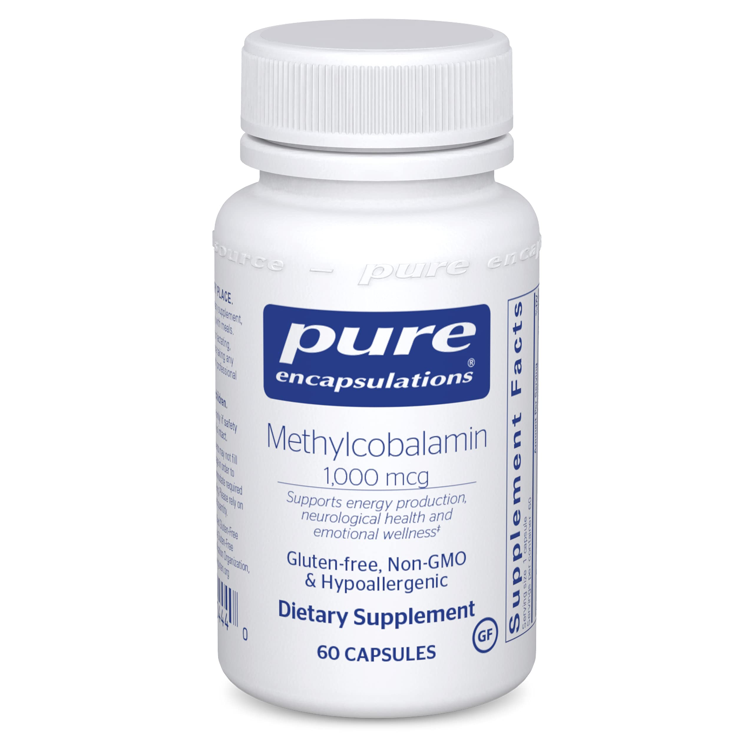 Pure Encapsulations Methylcobalamin 1,000 mcg   Vitamin B12 Supplement to Support Energy, Memory, Nerves, Emotional Wellness, and Cognitive Health*   60 Capsules