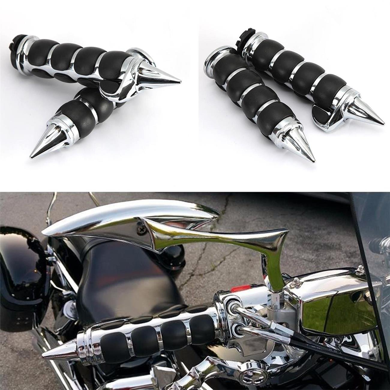 INNOGLOW 7//8 Motorcycle Molded Rubber Black Hand Handlebar Grips Grip Fits for Cruisers Choppers Harley Davidson Suzuki Kawasaki Yamaha Honda w// 7//8 inch