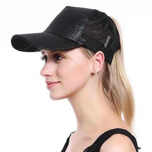 JAKY Global Glitter Ponytail Cap Messy Bun Adjustable Mesh Trucker Baseball  Cap Hats Women Girls( a8a11a2b31e4