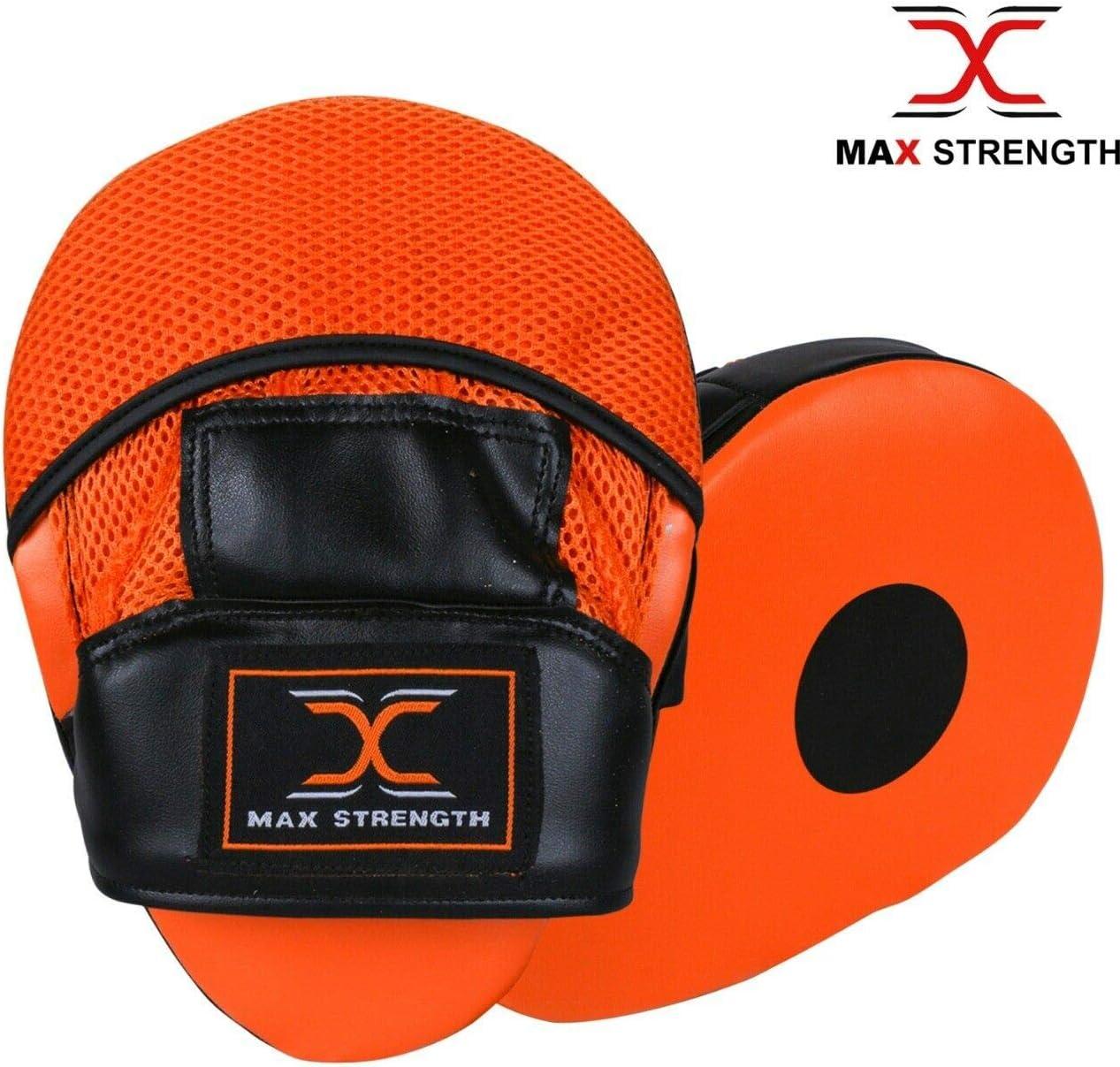 Black /& Orange, 8oz Max Strength Focus Pads Jab /& Hook Boxing Sparring Punching Gloves MMA Mitts Set